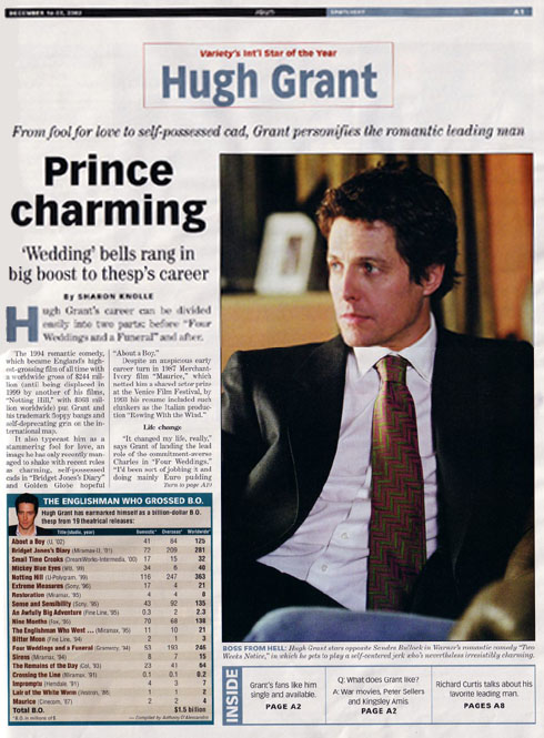 Variety: Hugh Grant, Star of the Year